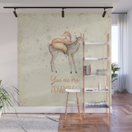 You are my adventure- fox and deer in winter- merry christmas Wall Mural