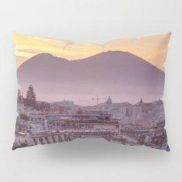 Napoli, landscape with volcano Vesuvio and sea Pillow Sham