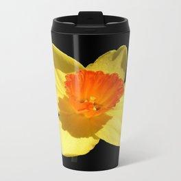 Spring Daffodil Isolated On Black Travel Mug