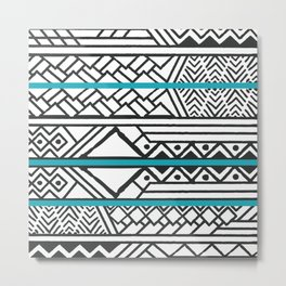 Tribal ethnic geometric pattern 032 Metal Print