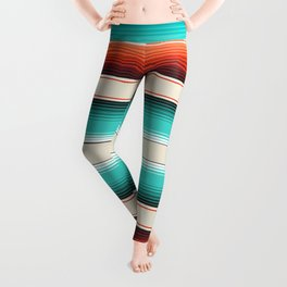 Navajo White, Turquoise and Burnt Orange Southwest Serape Blanket Stripes Leggings