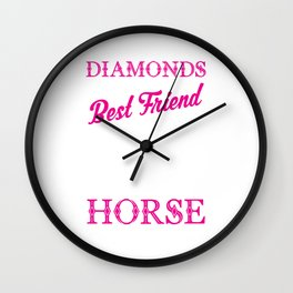 Horses Are A Girl's Best Friend Funny Wall Clock