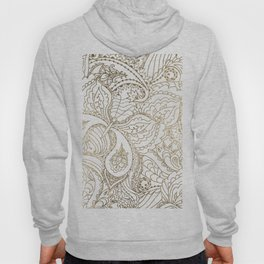 Elegant hand drawn white faux gold luxury floral Hoody