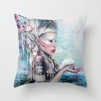 rat Throw Pillows featuring Yolandi The Rat Mistress  by Tanya Shatseva