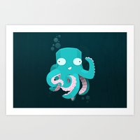 kraken Art Prints featuring Kraken by Damien Mason