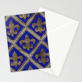 Fleur-de-lis mosaic tile pattern Stationery Cards