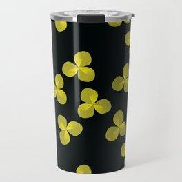 light golden clover on black background Travel Mug