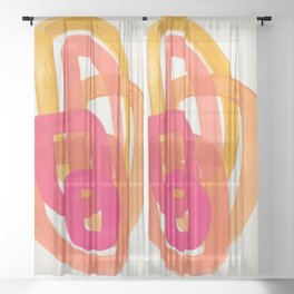 Funky Retro 70' Style Pattern Orange Pink Greindent Striped Circles Mid Century Colorful Pop Art Sheer Curtain