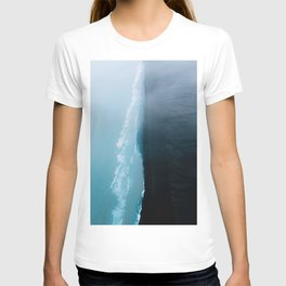 Black sand beach in iceland and blue ocean waves - Landscape Photography T-shirt