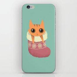 Kitty xmas stocking iPhone Skin
