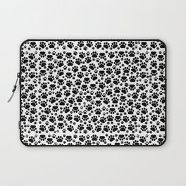 Dog Paws, Traces, Paw-prints - White Black Laptop Sleeve
