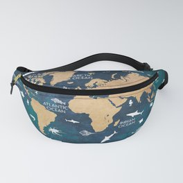 World Map Oceans Life blue #map #world Fanny Pack