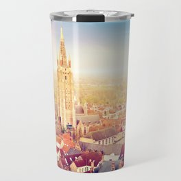 Bruges cityscape with St. Salvador cathedral, Belgium Travel Mug
