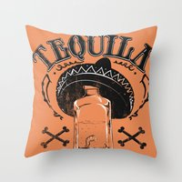tequila Throw Pillows featuring Tequila Tradicional by Tshirt-Factory