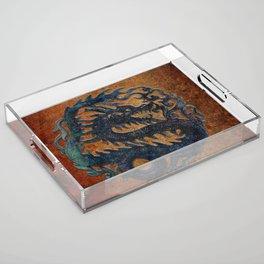Blue Chinese Dragon on Stone Background Acrylic Tray