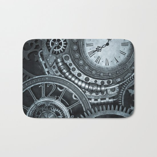 Silver Steampunk Clockwork Bath Mat