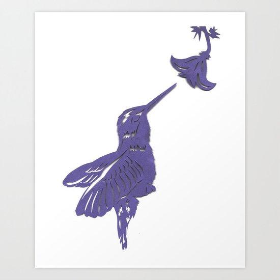 Lavender Hummingbird Papercut Art Print