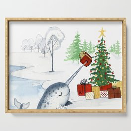 Christmas Narwhal Serving Tray