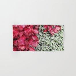 Pink Leaves on Green Carpet Hand & Bath Towel
