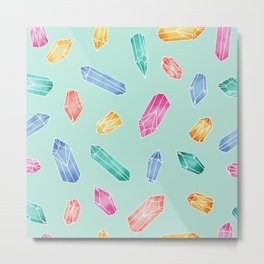 Crystals pattern - Light Green Metal Print