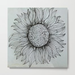 blak/white flower Metal Print