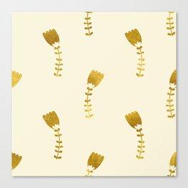 Cream Gold Foil 03 Canvas Print