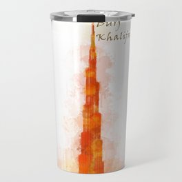 Burj Khalifa, Dubai, Emirates in WaterColor Red Travel Mug