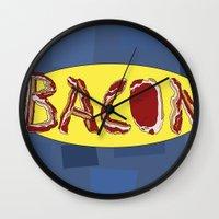 bacon Wall Clocks featuring Bacon by creativecurran