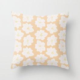 Watercolor Magnolias in Georgia Peach Throw Pillow