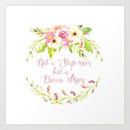 Bonus Mom Pink Watercolor Floral Art Print
