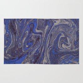 Deep Blue Marble Rug
