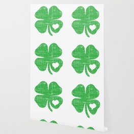 Green Four Leaf Clover Heart St Patricks Day Wallpaper