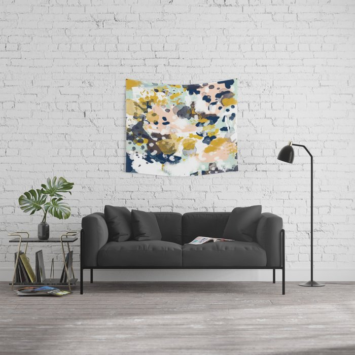 Sloane - Abstract painting in modern fresh colors navy, mint, blush, cream, white, and gold Wall Tapestry