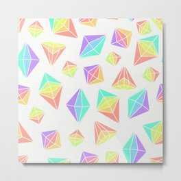 Pastel Rainbow Crystals Pattern Metal Print
