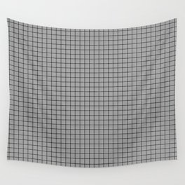 Grey Grid Black Line Wall Tapestry