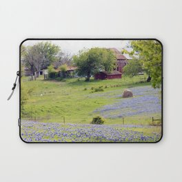 Old Red Barn and Rolling Bluebonnet Hills Laptop Sleeve