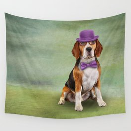 Dog Beagle. A dog in a hat. Wall Tapestry