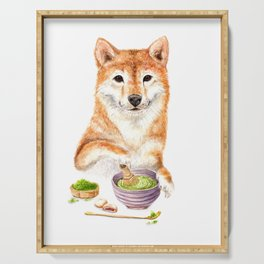 Shiba Inu Making Matcha Tea Serving Tray