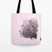 hedgehog Tote Bags featuring Hedgehog by Linette No