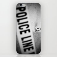 police iPhone & iPod Skins featuring Police Line by GF Fine Art Photography