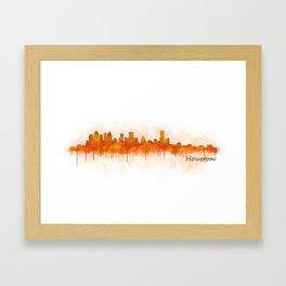 Houston City Skyline Hq v3 Framed Art Print
