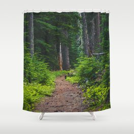 Green Forest Path (Color) Shower Curtain