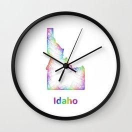 Rainbow Idaho map Wall Clock