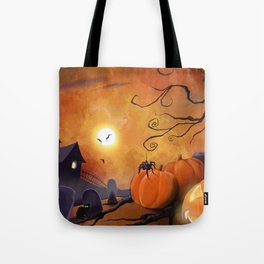 Halloween Cemetery Pumpkins Spiders and Bats Tote Bag