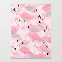 flamingo Canvas Prints featuring Flamingo Pattern by Georgiana Paraschiv