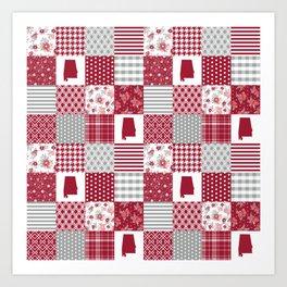 Alabama university crimson tide quilt pattern college sports alumni gifts Art Print