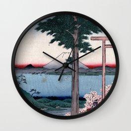 Hiroshige - 36 Views of Mount Fuji (1858) - 35: Mt. Kanō in Kazusa Province Wall Clock