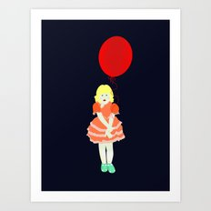 En röd ballong Art Print