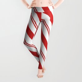 Red and White Candy Cane Stripes, Thick and Thin Angled Lines, Festive Christmas Leggings