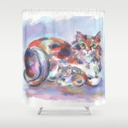 Patch and Stitch, Mama and Baby Shower Curtain